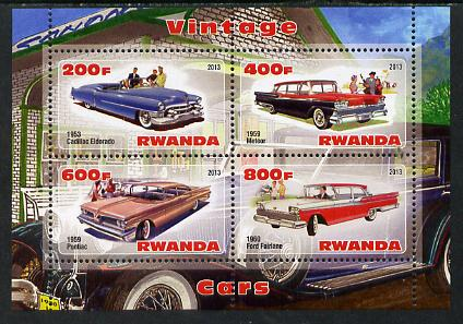Rwanda 2013 Vintage Cars #2 perf sheetlet containing 4 values unmounted mint