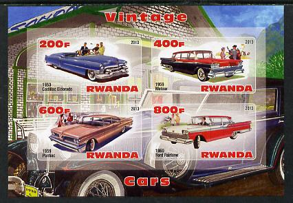 Rwanda 2013 Vintage Cars #2 imperf sheetlet containing 4 values unmounted mint