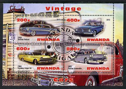 Rwanda 2013 Vintage Cars #3 perf sheetlet containing 4 values fine cto used
