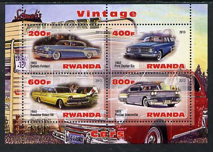 Rwanda 2013 Vintage Cars #3 perf sheetlet containing 4 values unmounted mint