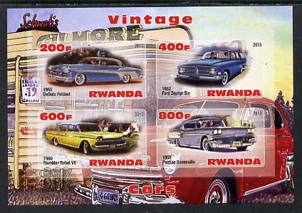 Rwanda 2013 Vintage Cars #3 imperf sheetlet containing 4 values unmounted mint