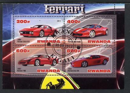 Rwanda 2013 Ferrari Cars #1 perf sheetlet containing 4 values fine cto used