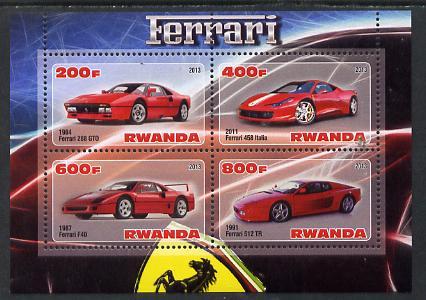 Rwanda 2013 Ferrari Cars #1 perf sheetlet containing 4 values unmounted mint