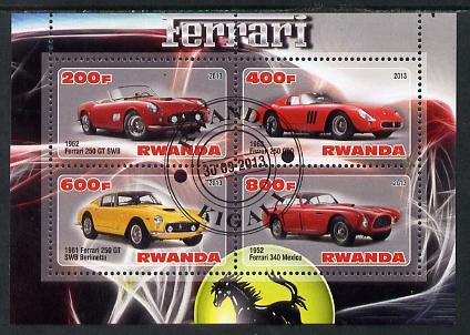 Rwanda 2013 Ferrari Cars #2 perf sheetlet containing 4 values fine cto used