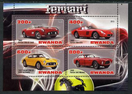 Rwanda 2013 Ferrari Cars #2 perf sheetlet containing 4 values unmounted mint