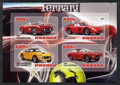 Rwanda 2013 Ferrari Cars #2 imperf sheetlet containing 4 values unmounted mint