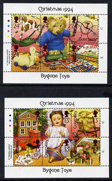 Guernsey 1994 Christmas - Bygone Toys set of 12 (two sheetlets of 6) unmounted mint SG 651-52