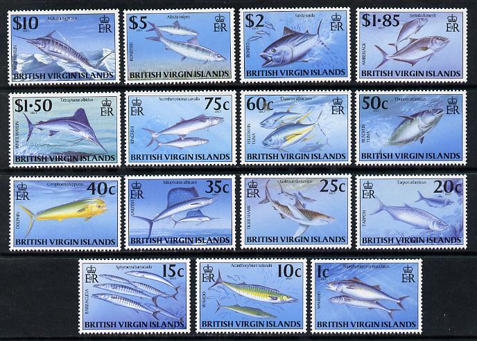 British Virgin Islands 1997 Game Fish definitive set complete 15 values unmounted mint SG 943-57