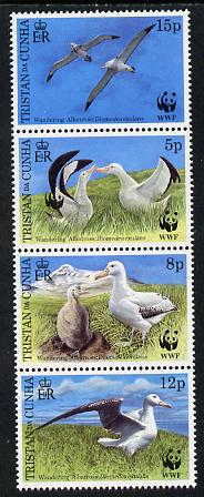 Tristan da Cunha 1999 WWF - Wandering Albatros vertical perf strip of 4, second stamp showing additional Panda Logo on left-hand bird, unmounted mint SG 651b