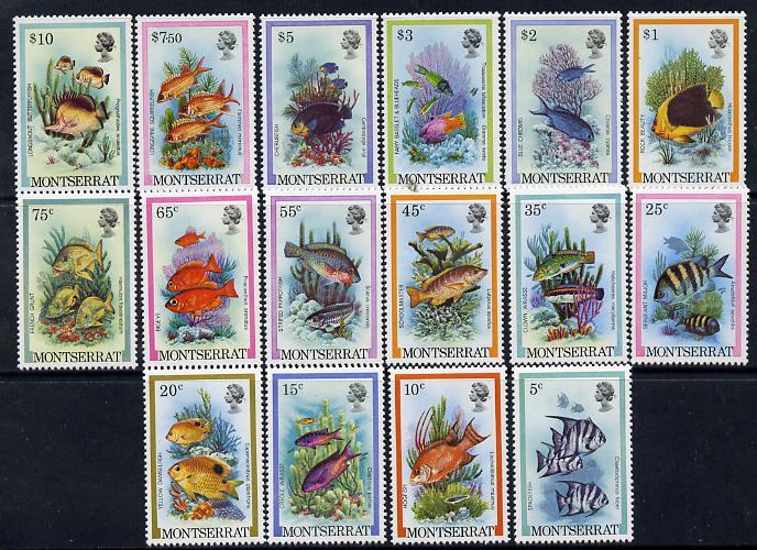 Montserrat 1981 Fish definitive set complete 16 values unmounted mint SG 490-505