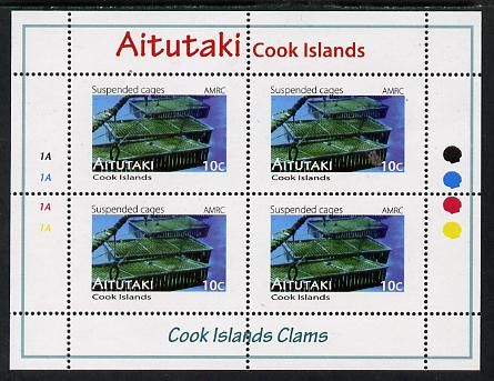 Cook Islands - Aitutaki 2013 Clams #1 perf sheetlet containing 4 x 10c values unmounted mint