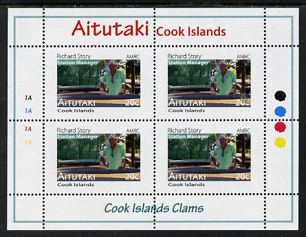 Cook Islands - Aitutaki 2013 Clams #2 perf sheetlet containing 4 x 20c values unmounted mint
