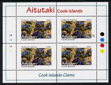 Cook Islands - Aitutaki 2013 Clams #4 perf sheetlet containing 4 x 90c values unmounted mint