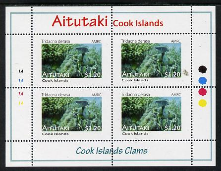 Cook Islands - Aitutaki 2013 Clams #6 perf sheetlet containing 4 x $1.20 values unmounted mint