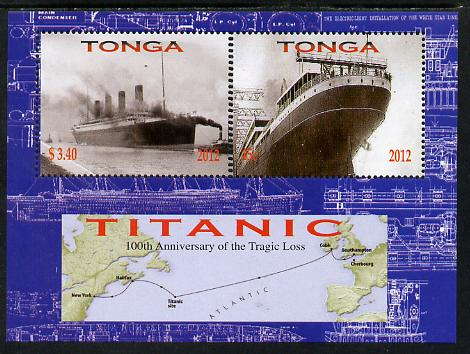 Tonga 2012 Titanic perf sheetlet containing 2 values unmounted mint , stamps on ships, stamps on titanic, stamps on disasters, stamps on maps