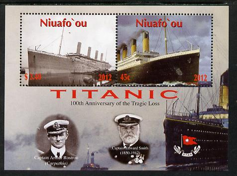 Tonga - Niuafo'ou 2012 Titanic perf sheetlet containing 2 values unmounted mint