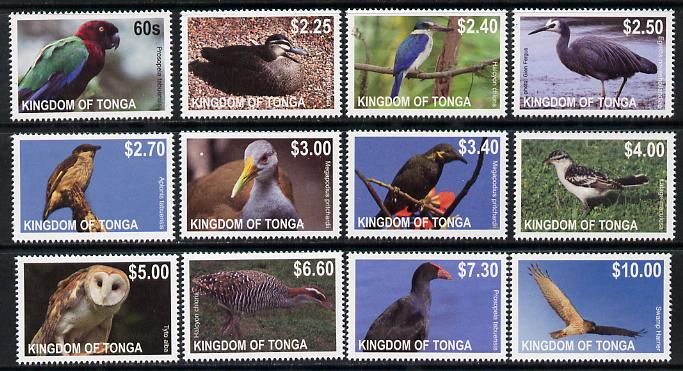 Tonga 2013 Birds #1 definitive perf set of 12 values complete unmounted mint