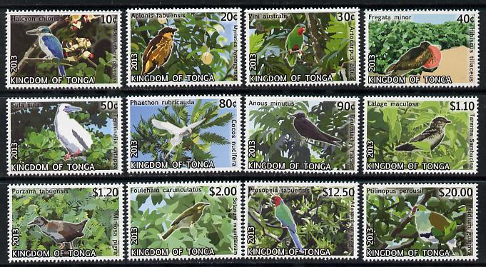 Tonga 2013 Birds #2 definitive perf set of 12 values unmounted mint