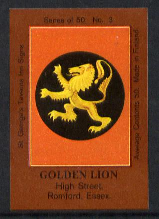Match Box Labels - Golden Lion (No.3 from a series of 50 Pub signs) dark brown background, very fine unused condition (St George's Taverns)