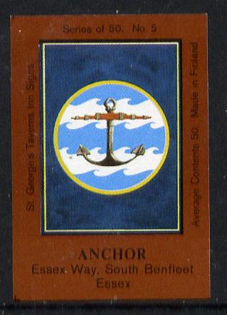 Match Box Labels - Anchor (No.5 from a series of 50 Pub signs) dark brown background, very fine unused condition (St George's Taverns)