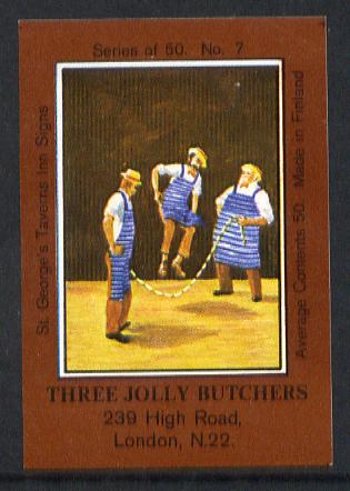 Match Box Labels - Jolly Butcher (No.7 from a series of 50 Pub signs) dark brown background, very fine unused condition (St George's Taverns)