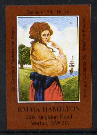 Match Box Labels - Emma Hamilton (No.14 from a series of 50 Pub signs) dark brown background, very fine unused condition (St George's Taverns)
