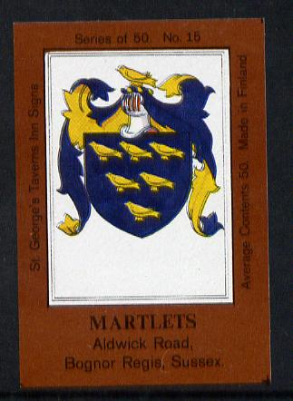 Match Box Labels - Martlets (No.15 from a series of 50 Pub signs) dark brown background, very fine unused condition (St George's Taverns)