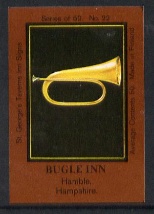 Match Box Labels - Bugle Inn (No.22 from a series of 50 Pub signs) dark brown background, very fine unused condition (St George's Taverns)