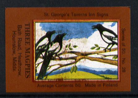 Match Box Labels - Magpies (No.28 from a series of 50 Pub signs) dark brown background, very fine unused condition (St George's Taverns)