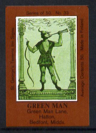 Match Box Labels - Green Man (No.33 from a series of 50 Pub signs) dark brown background, very fine unused condition (St George's Taverns)