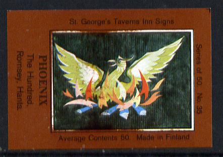 Match Box Labels - Phoenix (No.35 from a series of 50 Pub signs) dark brown background, very fine unused condition (St George's Taverns)