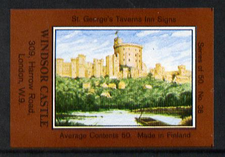Match Box Labels - Windsor Castle (No.36 from a series of 50 Pub signs) dark brown background, very fine unused condition (St George's Taverns)