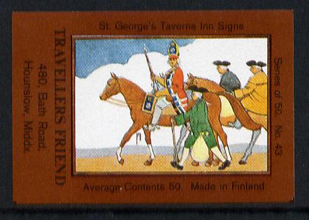 Match Box Labels - Travellers Friend (No.43 from a series of 50 Pub signs) dark brown background, very fine unused condition (St George's Taverns)