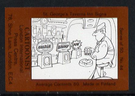 Match Box Labels - Cartoonist (No.44 from a series of 50 Pub signs) dark brown background, very fine unused condition (St George's Taverns)
