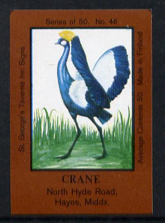 Match Box Labels - Crane (No.46 from a series of 50 Pub signs) dark brown background, very fine unused condition (St George's Taverns)