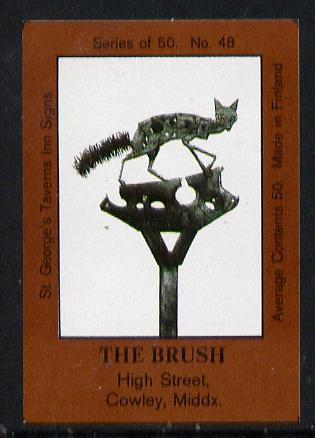 Match Box Labels - The Brush (No.48 from a series of 50 Pub signs) dark brown background, very fine unused condition (St George's Taverns)