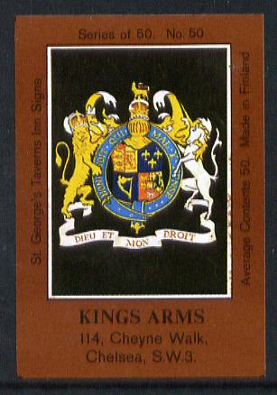 Match Box Labels - Kings Arms (No.50 from a series of 50 Pub signs) dark brown background, very fine unused condition (St George's Taverns)