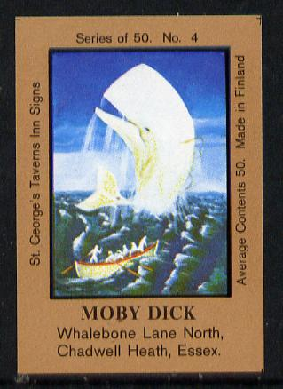 Match Box Labels - Moby Dick (No.4 from a series of 50 Pub signs) light brown background, very fine unused condition (St George's Taverns)