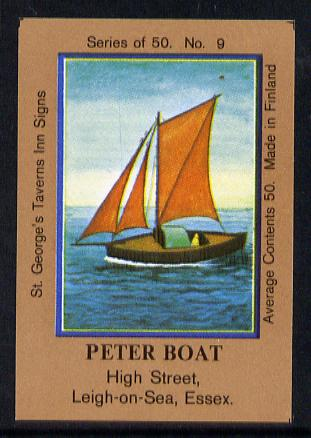 Match Box Labels - Peter Boat (No.9 from a series of 50 Pub signs) light brown background, very fine unused condition (St George's Taverns)
