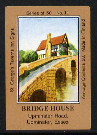 Match Box Labels - Bridge House (No.11 from a series of 50 Pub signs) light brown background, very fine unused condition (St George's Taverns)