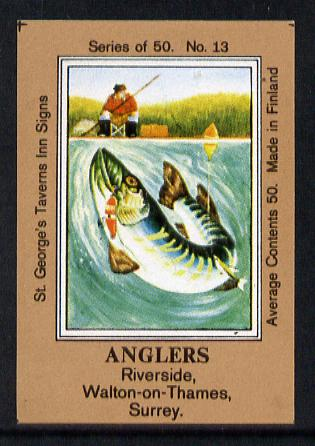 Match Box Labels - Anglers (No.13 from a series of 50 Pub signs) light brown background, very fine unused condition (St George's Taverns)