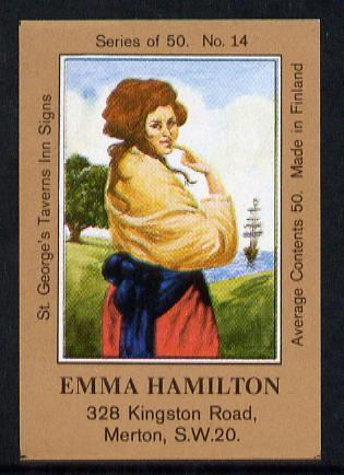 Match Box Labels - Emma Hamilton (No.14 from a series of 50 Pub signs) light brown background, very fine unused condition (St George's Taverns)