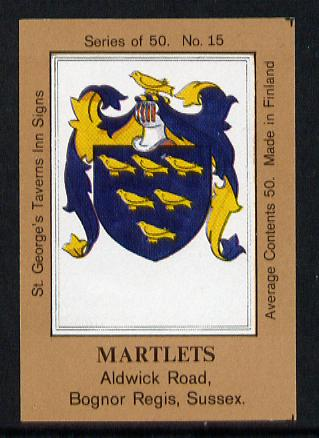 Match Box Labels - Martlets (No.15 from a series of 50 Pub signs) light brown background, very fine unused condition (St George's Taverns)