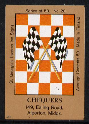 Match Box Labels - Chequers (No.20 from a series of 50 Pub signs) light brown background, very fine unused condition (St George's Taverns)