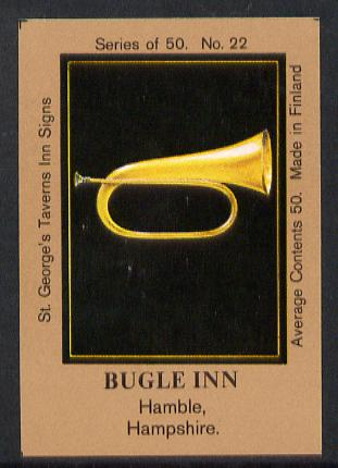Match Box Labels - Bugle Inn (No.22 from a series of 50 Pub signs) light brown background, very fine unused condition (St George's Taverns)