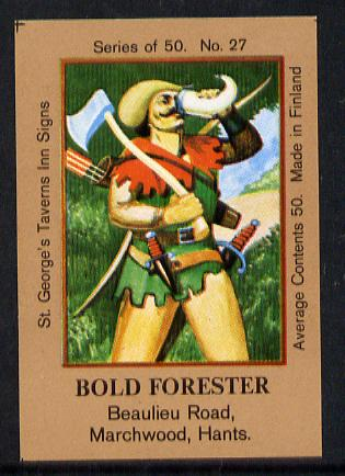 Match Box Labels - Bold Forester (Outlaw) (No.27 from a series of 50 Pub signs) light brown background, very fine unused condition (St George's Taverns)