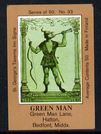 Match Box Labels - Green Man (No.33 from a series of 50 Pub signs) light brown background, very fine unused condition (St George's Taverns)