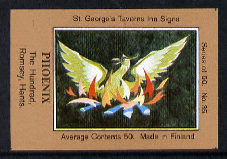 Match Box Labels - Phoenix (No.35 from a series of 50 Pub signs) light brown background, very fine unused condition (St George's Taverns)