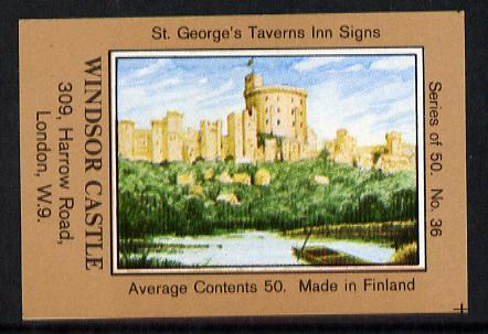Match Box Labels - Windsor Castle (No.36 from a series of 50 Pub signs) light brown background, very fine unused condition (St George's Taverns)