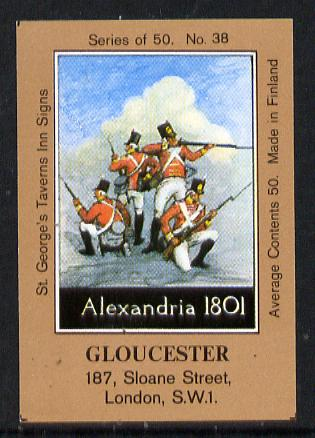 Match Box Labels - Gloucester (No.38 from a series of 50 Pub signs) light brown background, very fine unused condition (St George's Taverns)
